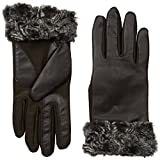 Isotoner Women's Smartouch Stretch Leather Glove with Fur Spill Fleece Lined
