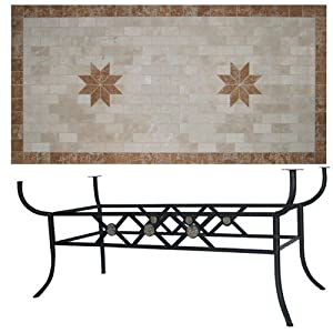 Tavolo in ferro battuto da giardino con piano in pietra 100x200 giardino e giardinaggio - Tavolo giardino ferro battuto ...