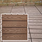 木の風合に抜群の耐候性 ウッディスケープ フロアパネル ダークブラウン 18枚セット WPC-18-107-DBR