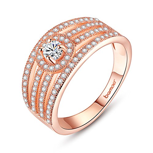 Bamoer Charm Rose Gold Plated Brass Aaa Cubic Zircon Finger Promise Ring For Women Girls With Gift Bag