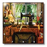 3dRose dpp_100349_1 Image of 1899 Singer Sewing Machine in Country Room Wall Clock, 10 by 10-Inch