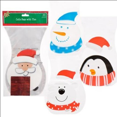 Christmas Penguin Die-Cut Cello Treat Bags, 20-ct. Packs