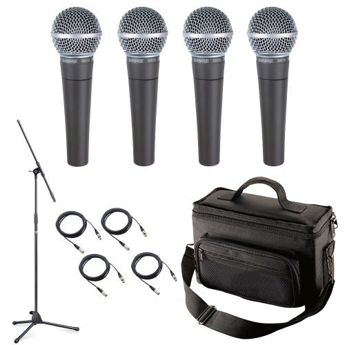 Shure SM58-LC Microphone Pack with Four SM58-LC Microphones, Padded Mic Bag, Mic Stand, and 4 Mic Cables