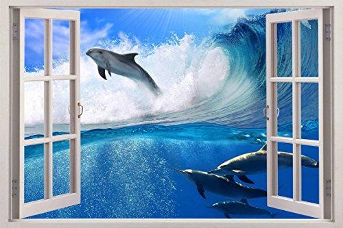 Surfing Dolphins 3D Window View Decal WALL STICKER Art Mural Beach Ocean Animals C087, Huge