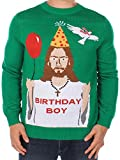 Men's Ugly Christmas Sweater - Happy Birthday Jesus Sweater Green Size XL