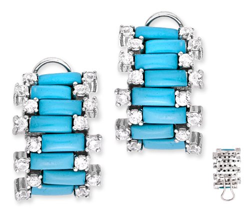 Trendy Simulated Turquoise C.Z. Diamond Brick Design Earrings (Nice Holiday Gift, Special Black Firday Sale)