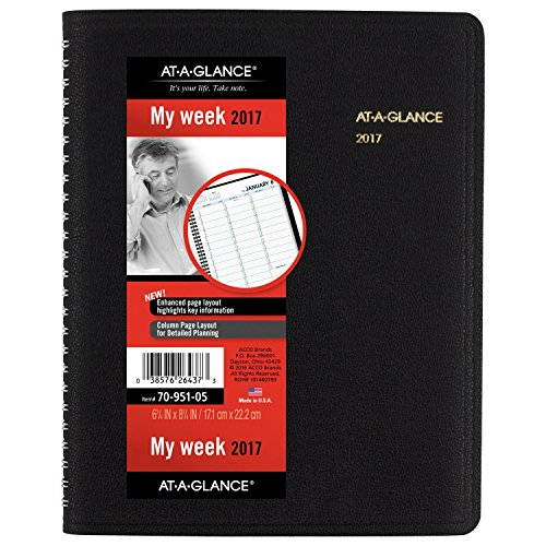 AT-A-GLANCE Weekly Appointment Book / Planner 2017, 6-3/4 x 8-3/4