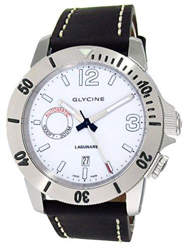 Glycine Lagunare Automatic L1000 Steel Mens Divers Watch White Dial Calendar 3899.11.D9