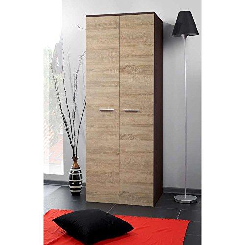 JUSThome-2D-Drehtrenschrank-Kleiderschrank-Garderobenschrank-HxBxT-190x70x55-cm-Wenge-Matt-Sonoma-Eiche