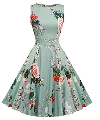 Vintage 1950 vestito da cocktail del vestito da partito picnic Floral Spring Garden Party (2XL, Light Green)