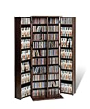 Large Media Storage Cabinet with Locking Doors Espresso Finish