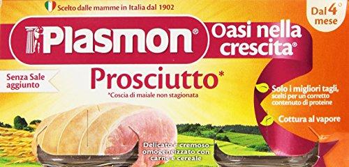 Plasmon - Oasi nella crescita, Prosciutto, Coscia di maiale non stagionata, Delicato e cremoso omogeneizzato con carne e cereale - 160 g