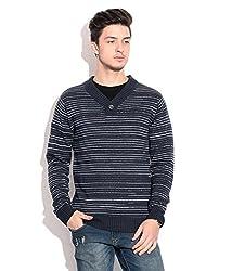 Prakum Striped V-neck Casual Men's Sweater (Large)