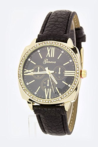 Karmas Canvas Grain Leather Strap Fashion Watch (Black)