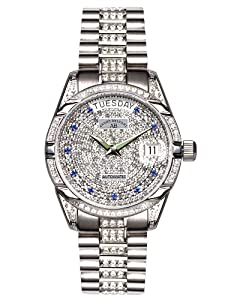 André Belfort 410146 - Reloj analógico de mujer automático con correa de acero inoxidable plateada - sumergible a 50 metros