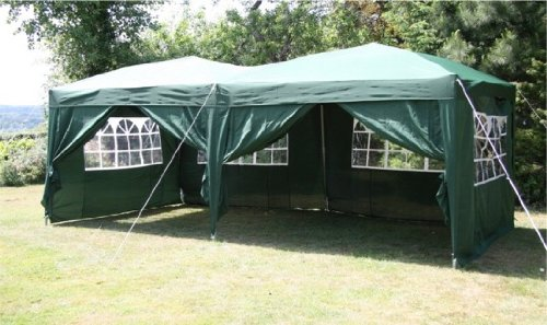 6.0x3.0mtr Green Pop Up Gazebo, FULLY WATERPROOF with Six Side Panels and Carrybag
