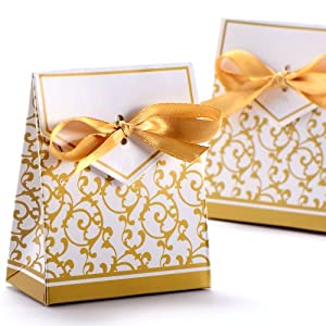 Wedding Gift Box Amazon : Wedding Favour Candy Boxes Gift Boxes With Ribbons 50pcs (Gold ...
