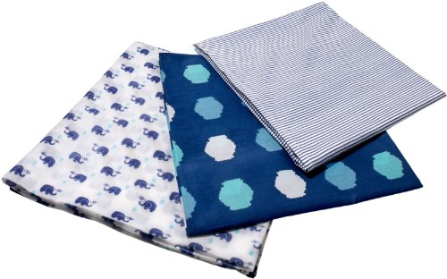 Masala Baby Happy Elephant Swaddle Wrap Set- Navy