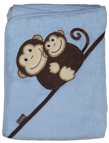 "Extra Large 40""x30"" Absorbent Hooded Towel, Monkeys (blue), Frenchie Mini Couture - 1"