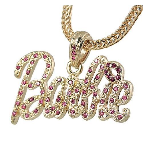 Nicki Minaj Barbie Pink Crystal Pendant Gold Tone 22