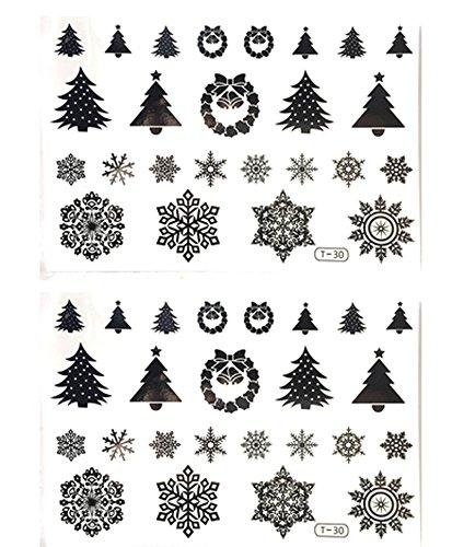 クリスマス タトゥー シール かわいい 絵柄 コスチューム パーティー (h 白黒 2枚 セット)