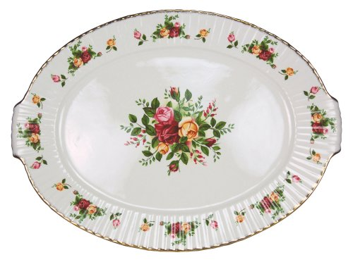 Royal Albert Old Cournty Roses 19-inch Fluted Serving Platter