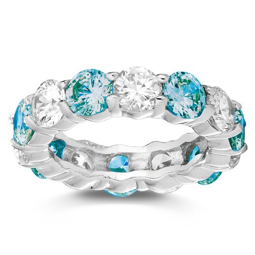 Simulated Blue Topaz and White CZ Stackable Eternity Band Ring