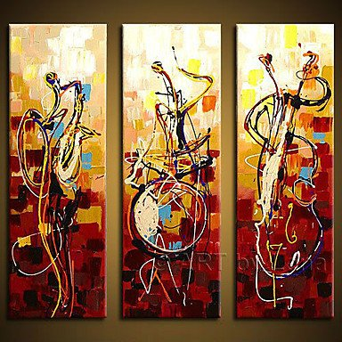 Sanbay Art 100% Hand Painted Oil Paintings on Canvas Hot Sale Musical Instrument Wood Framed Inside 3-pieces Set Artwork for Living Room Kitchen and Home Wall Decoration (Rain Musical Instrument compare prices)