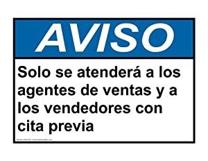 ANSI NOTICE Salespeople Vendors By Appointment Spanish Sign ANS-5730
