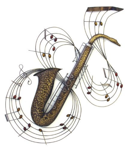 Wall Art Music Metal Wall Art - Saxophone Notes