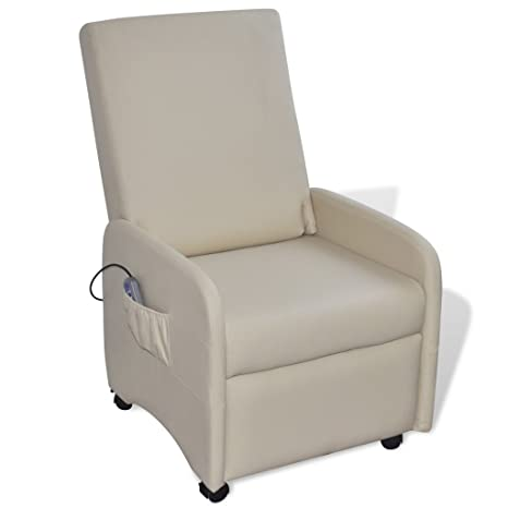vidaXL Sillón de masaje reclinable cuero artificial, color crema
