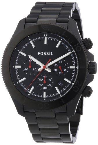 Fossil CH2863 - Reloj cronógrafo de cuarzo para hombre, correa de acero inoxidable color negro (agujas luminiscentes, cronómetro)