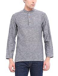 Fabindia Men's Waist Long Cotton Kurta (1060215_42_Grey)