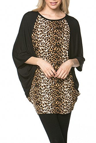 Sassy Apparel Womens Leopard Print Batwing Sleeve Stylish Over Size Tunic Top (Xtra Large, Black)