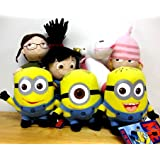 Despicable Me The Movie Official 8 Inch Soft Plush Toy Figure Agnes Edith Margo w/ Fluffy Unicorn Plus 6 Inch Dave Jorge Stewart Stuart Minions Full Complete Doll Set