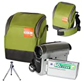 First2savvv high quality anti-shock green Nylon camcorder case bag for panasonic HC-X800 HC-V720 HC-V520 + camera tripod