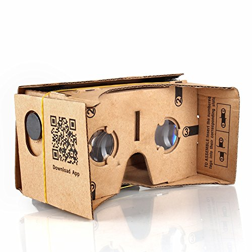TNP Google Cardboard Kit 3D Virtual Reality Glasses DIY Valencia Quality Tool Compatible with 5-inch Screen Android and Apple Smartphone Easy Setup Machine Cut Construction 25mm Lenses