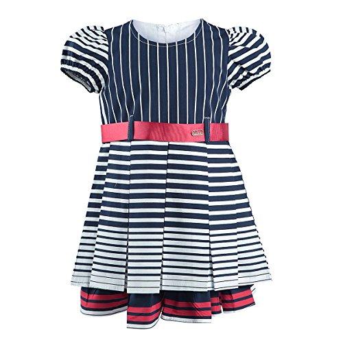 Lilax Little Girls' Short Sleeve Stripe Poplin Dress