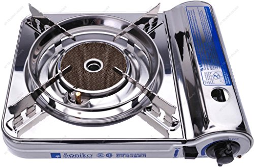 M.V. Trading Co NS3500CS/WH Soniko Steel Portable Gas Stove with Infrared Technology Ceramic Burner, White (Portable Burners Butane compare prices)
