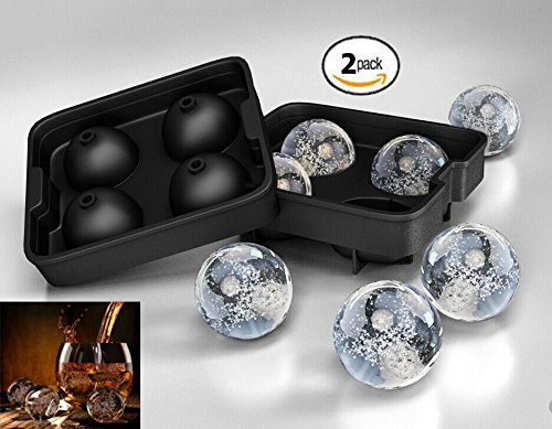 Set Of 2 - Zicome Silicone Ice Ball Mold Tray Maker - ★8 Ice Balls★ - By Simple And Healthy Home Creations