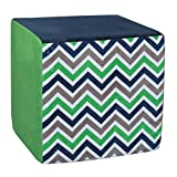 "Koala Foam 15"" Cube, Blue/Green Chevron"