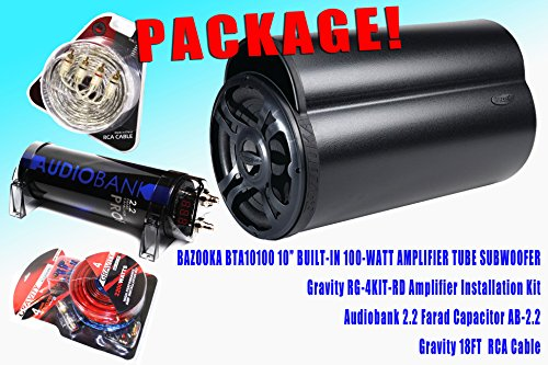 "Complete Package! Bazooka Bta10100 10"" Tube Subwoofer Built-In 100-Watt Amplifier + Gravity Rg-4Kit-Rd Amplifier Installation Kit + Audiobank 2.2 Farad Capacitor Ab-2.2 + Gravity 18Ft Rca Cable"