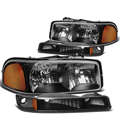DNAMotoring HL-OH-SIE994P-BK-AM Headlight Assembly, Driver and Passenger Side (05 Sierra Headlight Assembly compare prices)