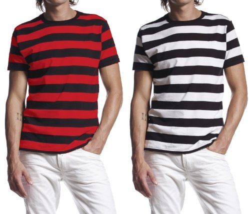 Studio 247 at Royal T - Mens T-Shirt Striped Red or White - Prime or Super Saver Delivery