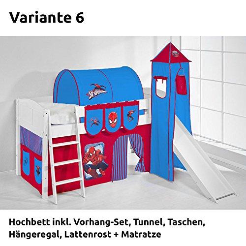 Hochbett Spielbett IDA Spiderman, mit Turm, Rutsche und Vorhang, weiß, Variante 6 günstig online kaufen