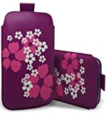 HTC One X - Premium Quality Floral Flower Design Pull Tab Protective Pouch Case Cover With Pull Tab Function ( Purple & Grey & White ) By Excellent Accessories