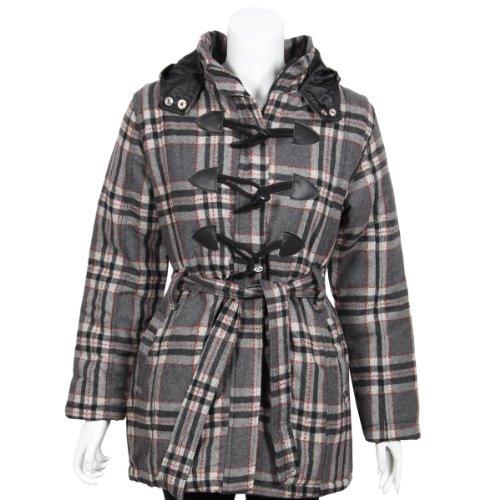 Stylish Fine Ladies Women's Outwear G-Fushia Winter Warm Wool Belted Hooded Coat Jacket