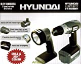 19.2 Volt Cordless Variable Speed Drill & Light Combo Set with Fast Charger, Battery, 15-Bit Assortment and Carrying Bag: Hyundai Model HLP-CDK19-1M