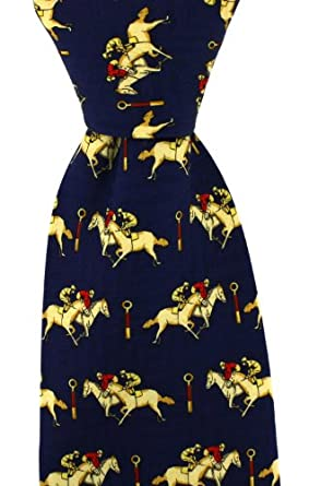 Mens Blue Silk Tie With Horse Racing Theme Amazon Co Uk