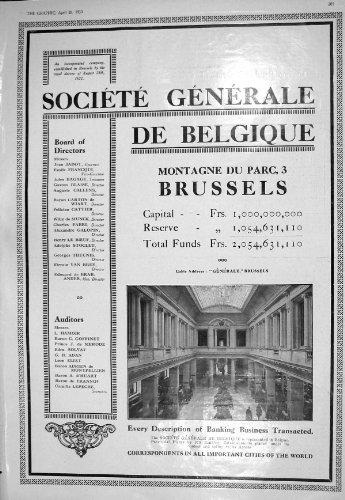 1930 BANK BRUSSELS MONTAGNE DU PARC OSTEND KURSAAL ROYAL PALACE HOTEL